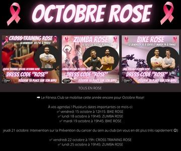 Planning des événements du mois d'Octobre Rose au Fitness Club ****